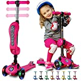 S SKIDEE 3 Wheel Kick Scooter With Folding Seat (Pink)