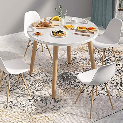 Round Dining Table, Modern Wood Coffee Table with 4 Legs,80 cm Dining Table Leisure Wooden Tea Table Office Conferences Pedestal Desk (White, 80x80x73 cm)