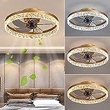 Ventilador De Techo Con Iluminación Moderno LED 30W Fan Luces De Techo Con Control Remoto Regulable Lámpara De Techo Con Ventilador Para Dormitorio Habitación De Niños Sala De Estar Oficina (Gold)
