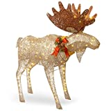 National Tree Company Artificial Christmas Décor | Includes Pre-strung White LED Lights and Ground Stakes | Crystal Splendor Moose - 4 ft