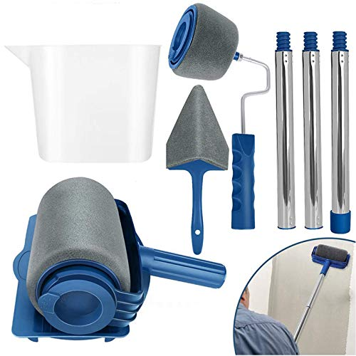 Paint Roller Brush Kit 6Pcs/Set DIY Wall Printing Brush kit with Paint Runner Pro Brush, Wall Printing Brush, 3 Telescopic Poles, Handle Flocked Edger Painting Walls and Ceilings for Home Office Room