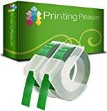 Printing Pleasure 2 Verde Cintas S0898160 Etiquetas de estampación de plástico para Dymo Junior S0717900 & Omega S0717930 Estampadoras   9mm x 3m   impresión Blanca sobre Fondo Verde