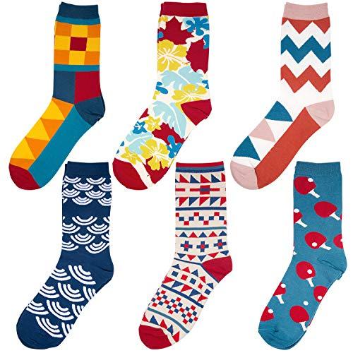 Comius Bunt Gemusterte Socken, Herrensocken, Businesssocken, Beruf Anzug Freizeit Funny, Gekämmte Baumwolle lustigen Graffiti Bunte Herren Socken Europäische 36-46 (6 Pack B)