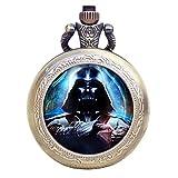 Reloj de bolsillo para hombre, Star Wars Darth Vader, cadena de bronce para hombre, collar de cuarzo vintage, reloj de bolsillo, regalo único para hombres
