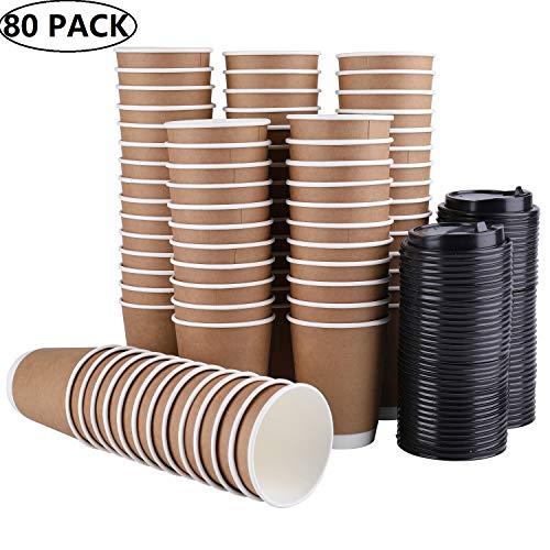 Lawei 80 Stück Kaffeebecher Einweg Pappbecher Kraftkarton Trinkbecher mit Deckel für Tee Kaffee Kakao Heißen & Kalten Getränke - 300ml