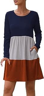TIANMI Women's Loose O Neck Dress Patchwork Stripe Autumn Casual Dress Pocket Fashion Long Sleeve Ladies Dresses