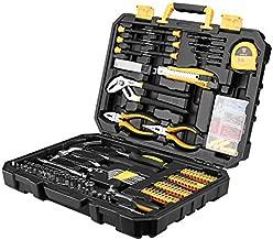 DESOON 196 Pieces Home Repair Tool Kits, Auto Mechanics Tool Set with Plastic Toolbox Storage Case