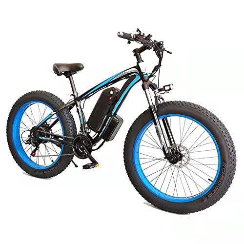 YIZHIYA Bicicleta Eléctrica, 26' E-Bike de montaña para Adultos, Ebike Fat Tire de 21 velocidades, Motor de 36V 10Ah 350W, Frenos de Disco Delanteros y Traseros,Black Blue