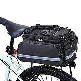 WILDKEN Bolsa Alforja Trasera Bicicleta Impermeable Bolso de Asiento Trasero para Viaje Portátil Extensible Bolsa de Hombro para Ciclismo al Aire Libre (Negro)
