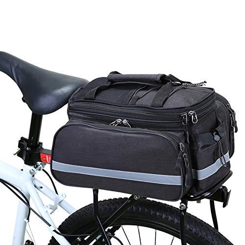 WILDKEN Borsa Posteriore Bici, Pannier Bike Bag, Borse Multi Funzione per Rastrelliera Portapacchi da Bici, Impermeabile Portapacchi Bagagli Borsa per Il Viaggio in Bicicletta (Nero S1)