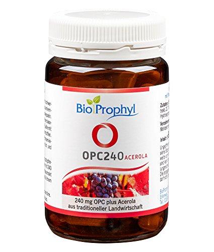 BioProphyl® OPC240 - Das Original - 240mg reines OPC aus 600mg Traubenkernextrakt aus französ. Trauben mit Vitamin C aus Acerolakirsche - hochdosiert, zertifiziert - 60 pflanzl. Kapseln für 2 Monate