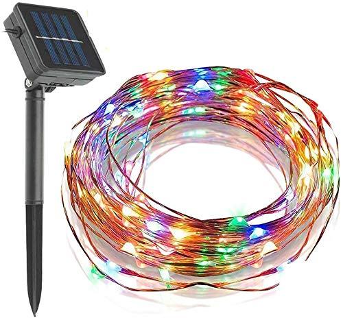 39ft 100 LED Solaire Lumières Fil de Cuivre Flexible, KEEDA Guirlandes Lumineuse pour la Décoration de Extérieur Jardin Noël Fête (Multi)