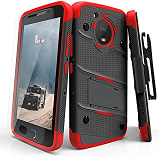 ZIZO Bolt Series Motorola Moto e4 Plus Case Military Grade Drop Tested with Tempered Glass Screen Protector Holster Black RED