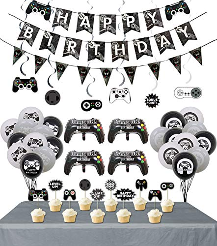 LSJDEER Video Game Party Supplies, 3 Pcs Gaming Themed Happy Birthday Banner and Flag, 1pcs Table Cloth, 6 Pcs Hanging Swirls, 10 Pcs Cake Topper, 19 Pcs Video Game Themed Balloons for Kids Birthday