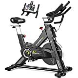 PYHIGHExerciseBike-Indoor Cycling Bike for Home, Stationary Bike, LCD Monitor with iPad Holder, Comfortable Seat Cushion, Multi - grips Handlebar for Home Workout