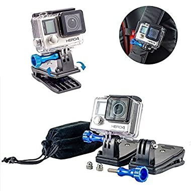 Nomadic Gear Backpack Clip mount with 360' Rotary Mount + Metallic Screws for GoPro Hero 6/ Hero5 / Hero4 / Hero 3+ Cameras| Universal Support for GoPro, SJCAM, XIAOMI