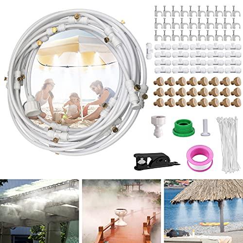 Joyhoop Sistema de Enfriamiento Nebulización, 15M Sistema de Riego con boquillas de nebulización de latón, Trampolín, Parque Acuático, Sombrilla, Glorieta.