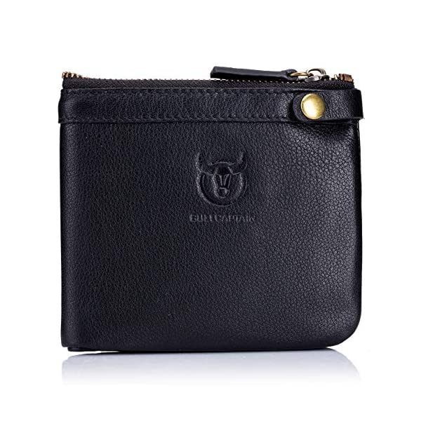 BULLCAPTAIN RFID Protected Mens Flip Wallets for Men with Zipper Leather Bifold Wallet 13 Card Slots QB58 1
