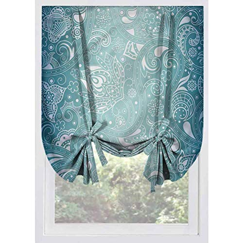 LCGGDB Aqua Blackout Tie Up Shades Panels,Retro Design Tribal Floral Thermal Insulated Tie Up Curtains Rod Pocket Short Curtains for Small Windows, Doors, French Doors, Kitchen Windows,32'x55'