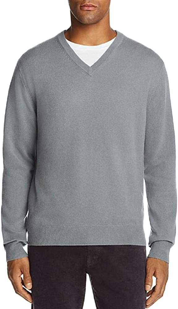 The Men's Store Cashmere Long Sleeve V-Neck Pullover Sweater (Grey Navy, XX-Large)