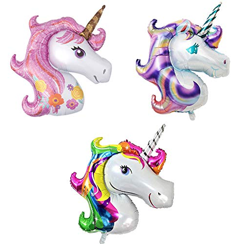 Large Unicorn Balloons for Girls Birthday – 43 Inch, Pack of 3   Pink, Purple, Rainbow Unicorn Head Balloons   Unicorn Mylar Balloons for Rainbow Unicorn Birthdays Decorations for Girls, Baby Shower