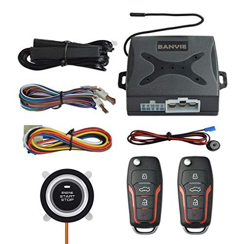 BANVIE PKE Passive Keyless Entry Car Alarm System Push Start Button Remote Start Starter