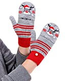 Suillty Kids Winter Gloves Warm Mittens Flip Half & Full Finger Christmas Convertible Mittens with Thumb Flap for Boys Girls