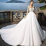 JYL Wedding Dress Bride Gown Bridesmaid Dress Off Shoulder Crochet Lace Double Floor Length Fishtail Vintage Elegant Ivory/US:16 (5XL)