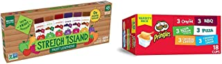 Stretch Island Fruit Leather Snacks Variety Pack, 0.5 Ounce, Pack of 48 & Pringles Flavored Variety Pack Potato Crisps - O...