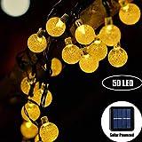 Marvelights Träume Kristall Solar Lichterketten Wasserdicht Träume Kristall Für Zimmer Weihnachten Garten Dekoration Weiß und Farbe LED leuchtet (Warmes Weiß, 7m 50LED)