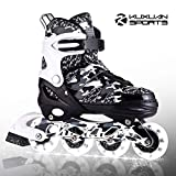 Kuxuan Boys and Girls Camo Adjustable Inline Skates with Light up Wheels, Fun Illuminating Roller Blading for Kids Girls Youth (Black Came-2020, Large(Kids 3-6 US))