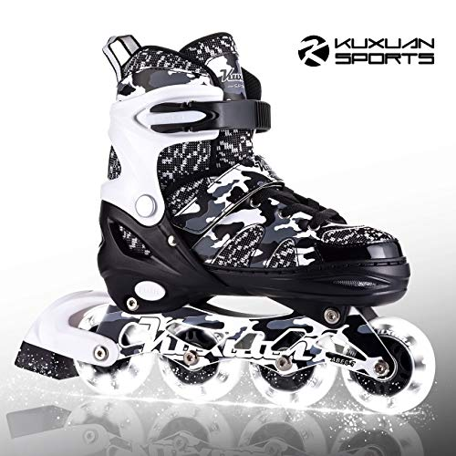 Kuxuan Boys Camo Black & Silver Adjustable Inline Skates with Light up Wheels, Fun Illuminating Roller Blading for Kids Girls Youth - Medium(Y13-3) …