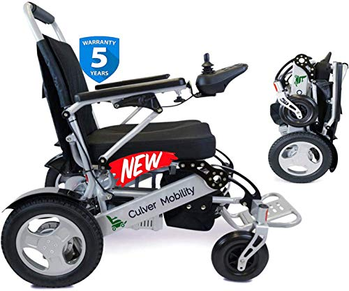 """Culver Best Rated Exclusive Dual """"500W"""" Motors Deluxe Electric Wheelchair for Adults. All Terrain Heavy Duty Lightweight Foldable Dual Battery Travel Power Wheelchairs (Free Wheelchair RAMP Gift)."""