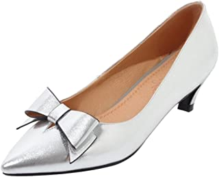 SJJH Court Shoes with Kitten Heel and Pointed Toe Casual Shoes with Patent Leather