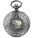 JewelryWe Retro Römische Ziffern Handaufzug mechanische Taschenuhr Skelett Uhr mit