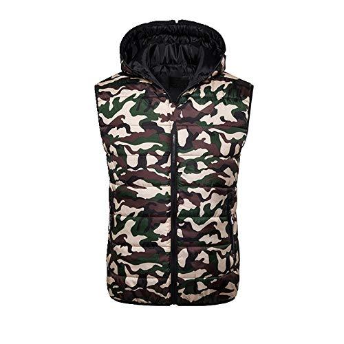 Winterjacke für Herren, mit Kapuze, Reißverschluss, ärmellos, Winterweste Gr. XXL, camouflage