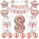 Huture 8 suministros fiesta cumpleaños oro rosa número 8 globo aluminio Happy Birthday Banner Kit 8th decoración de látex blanco confeti globo aluminio estrella corazón globo gran regalo para niñas