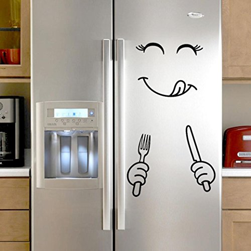 Sencillo Vida Bonita Pegatina Nevera Feliz Cara Delicioso Cocina Nevera Pared Refrigerador Pegatinas de Vinilo Art Wall Decal Home Decor
