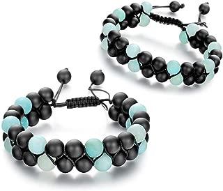 Lava Rock Mala Bead Bracelet-6PCS Essential Oil Diffuser Healing Natural Stone Handwoven Braided Adjustable Chakra Unisex Yoga Double Row Bracelets