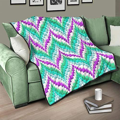 AXGM Colcha de Egipto India, Maya en zigzag, manta para el salón, con impresión 3D, para sofá, color blanco, 173 x 203 cm