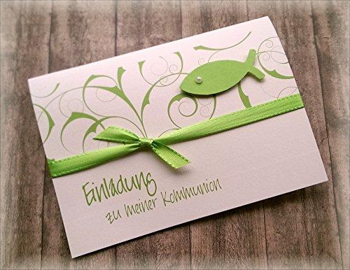 Einladung Einladungskarte Kommunion Konfirmation Firmung Taufe Fisch apfelgrün grün hellgrün kiwi