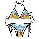 Sdltkhy Costumi da Bagno Bikini Morbidi, in Fiamme fiammeggiante Bikini Pneumatici 2 Pezzi