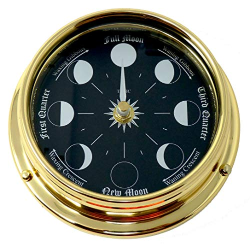Tabic Prestige Solid Brass Moon Phase Clock with Jet Black Dial