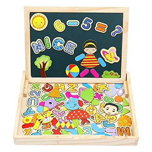 yoptote Magnettafel Kinder Holzspielzeug Montessori Spielzeug Magnetbuchstaben Holzpuzzle Kinderspielzeug Geschenke für Mädchen ab 2 3 4 5 Jahre