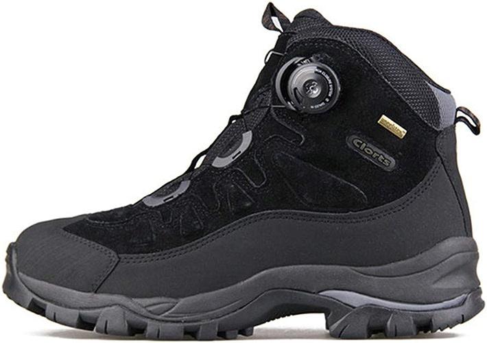 DSX Chaussures de Randonnée pour Hommes Bottes de Montagne Hivernales Coupe-Vent Imperméables baskets de Randonnée Anti-Glissantes, Noir, 9,5UK