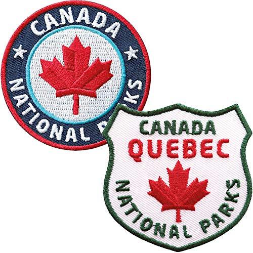 2er-Set Kanada Quebec Abzeichen gestickt 60 mm / Canada Nationalpark Ahorn Fahne Flagge Flagg Outdoor Reise Camping / Applikation Aufnäher Aufbügler Flicken Sticker Patch Reiseführer Karte Bügelbild