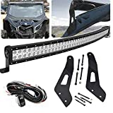52 inch 288W Offroad Curved LED Light Bar Spot/Flood Combo Beam & Upper Roof Windshield Mount Brackets w/Wiring Kit Fit 2017 2018 2019 Can-am Maverick X3 Max