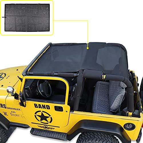 Mesh Shade Bikini Top UV Protection Sunshade Cover Front & Rear Passengers for Jeep Wrangler TJ 1997-2006 (Plain Black)