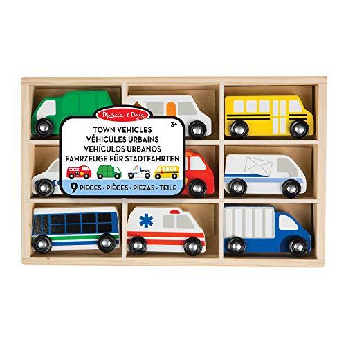 Melissa&Doug Stadtfahrzeuge aus Holz | Spielzeug und Züge aus Holz | LKWs und Fahrzeuge | 3+ | Geschenk für Jungen oder Mädchen