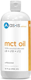 as-is MCT Oil Full Spectrum MCTs C8, C10, Lauric Acid, Derived from Non-GMO Coconuts - Unflavored - 32 fl. oz
